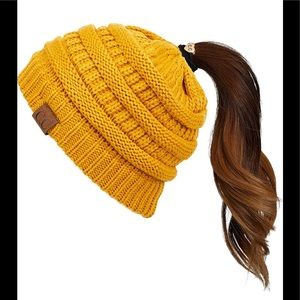 CC Beanie Hat Mustard Yellow with Open Ponytail
